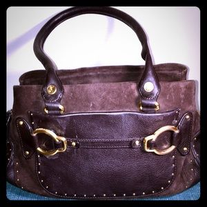 Cole Haan Suede and Leather Studded Satchel